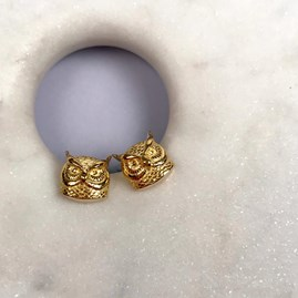 18ct Gold Owl Stud Earrings
