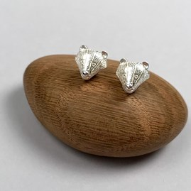 Solid Silver Badger Stud Earrings