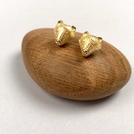18ct Gold Badger Stud Earrings