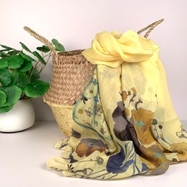 Floral Scarf In Golden Yellow
