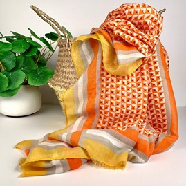Little Squares Scarf In Tangerine