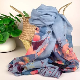 Floral Scarf In Duck Egg Blue