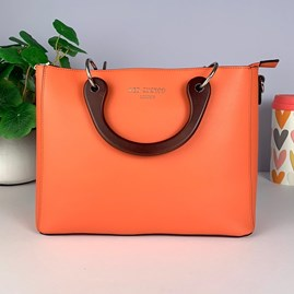 Tote Bag With Wooden Handle In Orange
