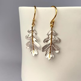 Solid Silver And 18ct Gold Oak Leaf Earrings