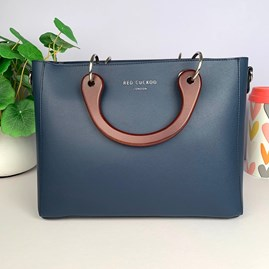 Tote Bag With Wooden Handle In Navy