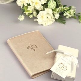 'Just Married' Passport Cover In Metallic White