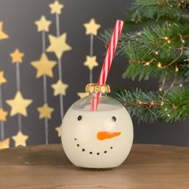 Snowman Festive Bauble Drinking Glass