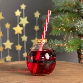 Santa Festive Bauble Drinking Glass