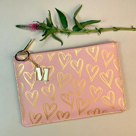 Katie Loxton Personalised Heart Print Perfect Pouch In Pink