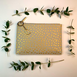 Katie Loxton Personalised Dalmation Print Perfect Pouch In Pale Grey