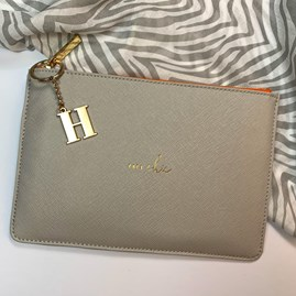 Katie Loxton Personalised 'Très Chic' Colour Pop Perfect Pouch In Pale Grey