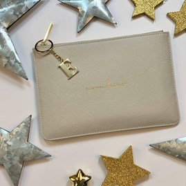 Katie Loxton Personalised 'Beautiful Dreamer' Perfect Pouch In Pale Grey
