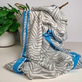Grey And Light Blue Zebra Print Scarf