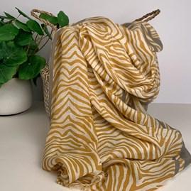 Mustard And Grey Zebra Print Scarf