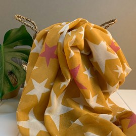 Mustard Scarf With Stars