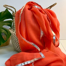 Coral And Silver Edged Scarf