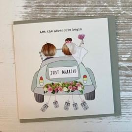'Just Married. Let The Adventure Begin'  Greetings Card
