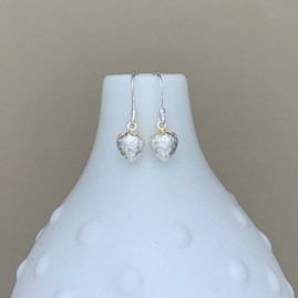 Sterling Silver And Gold Strawberry Charm Earrings