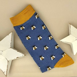 Men's Bamboo Honey Bees Socks in Blue