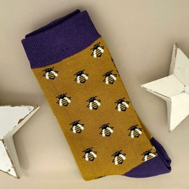 Men's Bamboo Honey Bees Socks in Yellow