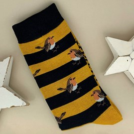 Men's Bamboo Robins & Stripes Socks in Mustard