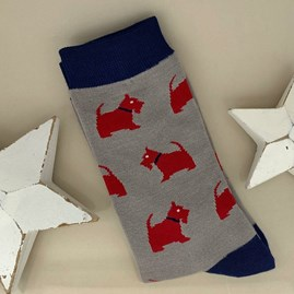 Men's Bamboo Westie Pup Socks in Grey