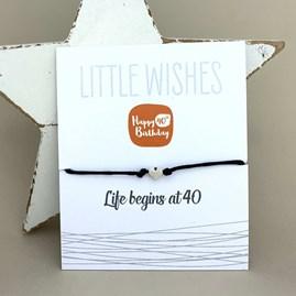 'Life Begins At 40' Wish Bracelet