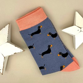 Bamboo Little Sausage Dogs Socks in Blue