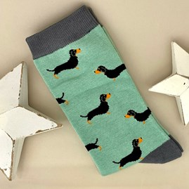 Men's Bamboo Little Sausage Dogs Socks in Mint