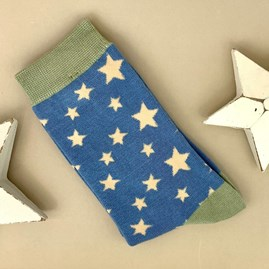Bamboo Stars Socks in Blue