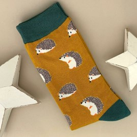 Men's Bamboo Hedgehog Socks in Mustard