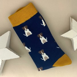 Men's Bamboo Little Jack Russells Socks in Navy