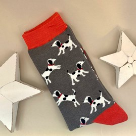 Men's Bamboo Little Dalmations Socks in Charcoal