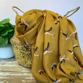 Flying Flamingos Scarf in Mustard