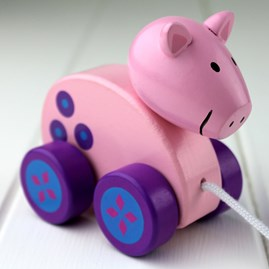 Hand Painted Wooden Pig Pull Along