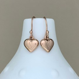 Engraved Rose Gold Puffed Heart Earrings