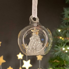 Glass Bauble With Glass Christmas Tree