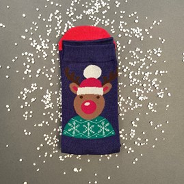 Men's Bamboo Santa Reindeer Socks In Navy