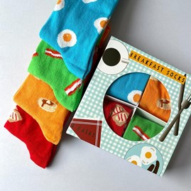 Unisex Breakfast Socks Gift Set of 4