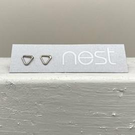 Sterling Silver Mini Geometric Triangle Stud Earrings