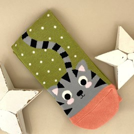 Bamboo Kitty & Spots Socks in Moss