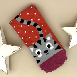 Bamboo Kitty & Spots Socks in Burnt Orange