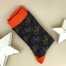 Men's Bamboo Little Bike Socks In Charcoal