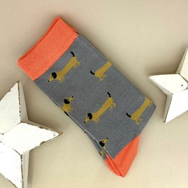 Bamboo Sausage Dog Socks In Grey