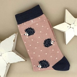 Bamboo Hedgehog Socks In Dusky Pink