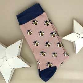 Bamboo Honey Bee Socks in Dusky Pink