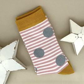 Bamboo Sparkle, Spots & Stripes Socks In Dusky Pink