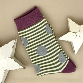 Bamboo Sparkle, Spots & Stripes Socks In Olive