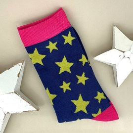 Bamboo Star Socks In Navy