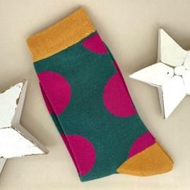Bamboo Dark Green Polka Dot Socks